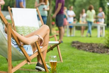 Woman enjoying summer vacation party