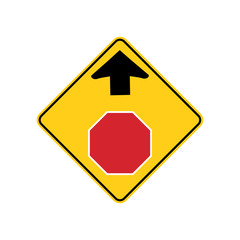 USA traffic road sign.warning that a stop sign is ahead. vector illustration