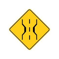 USA traffic road sign.narrow bridge warning.vector illustration