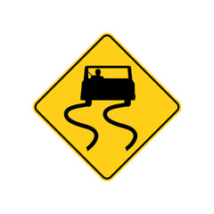 USA traffic road sign. slippery when wet,use caution. vector illustration