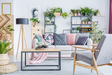 Grey armchair in living room
