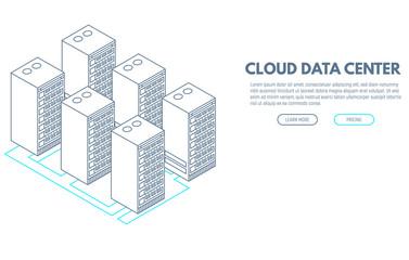 Data center banner. Servers isometric vector line illustration. Cloud hosting concept. Internet technology database.