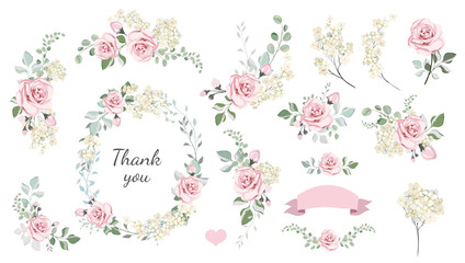 Set of floral branch, wreaths, heart. Flower pink rose, leaves. Wedding concept. Floral poster, invite. Vector arrangements for greeting card or invitation design background