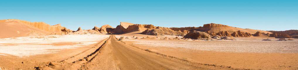"""Road and salt formations at """"Valle de la Luna"""" (spanish for Moon Valley), San Pedro de Atacama, Los Flamencos National Reserve, Atacama desert, Antofagasta Region, Chile, South America"""