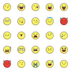 Emoji smileys filled outline icons set, line vector symbol collection, linear colorful pictogram pack. Signs, logo illustration, Set includes icons as kissing face emoticon, face with tears of joy