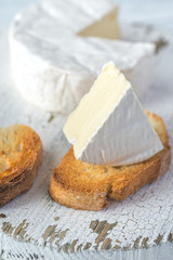 Toasted bread with Camembert cheese