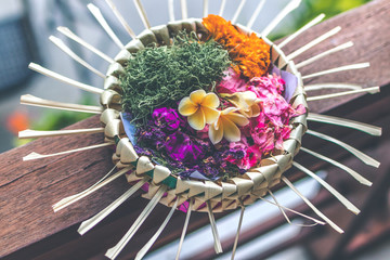Daily offerings - canang sari is very important in Bali, Indonesia.