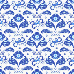 Seamless pattern in traditional Russian Gzhel style