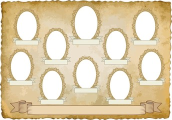 vintage background with ten frames for pictures