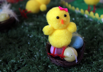Yellow Homemade Easter Chick with Copy Space