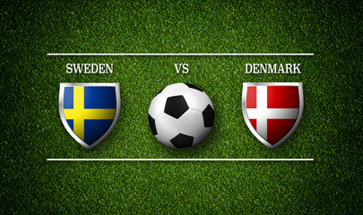 Football Match schedule, Sweden vs Denmark, flags of countries and soccer ball - 3D rendering