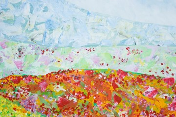 Gemalte Landschaft mit Hügeln und Blumenwiesen, Sommer, Impressionismus, Gouache-Malerei