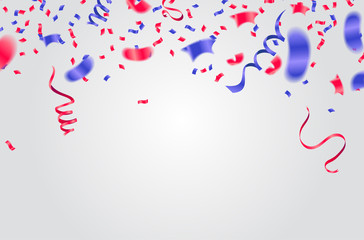 Celebration background template with confetti and ribbons red and blue