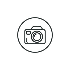 Black and white camera round icon