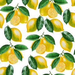Ripe lemons Watercolor set. Citrus pattern on white background. Design elements for background, banner,holiday card design. Hand painting artistic texture