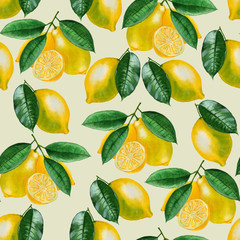 Ripe lemons Watercolor set. Citrus pattern on light green background. Design elements for background, banner,holiday card design. Hand painting artistic texture
