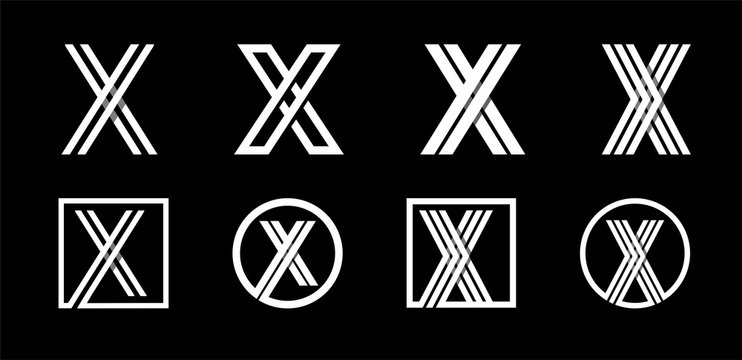 Capital letter X. Modern set for monograms, logos, emblems, initials. Made of white stripes Overlapping with shadows.