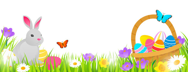 Easter background vector illustration, Basket with easter eggs and cute rabbit on spring flowers field isolated on white background.