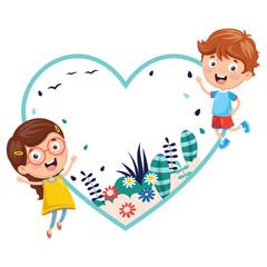 Vector Illustration Of Kids Holding Spring Banner