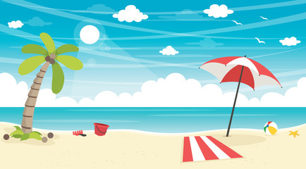 Vector Illustration Of Summer Beach Background