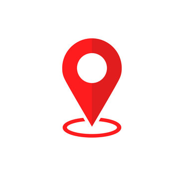 Simple Flat Red minimalist locator App with circle area