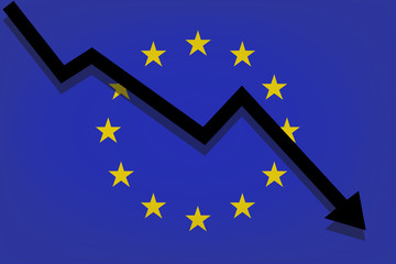 Black arrow falls against the background of the European Union flag