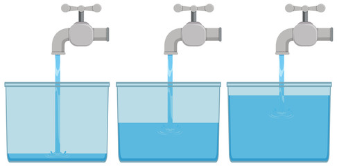 Tap water in buckets