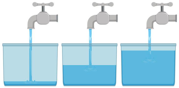 Tap water in buckets