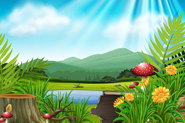 Background scene with mountain and lake