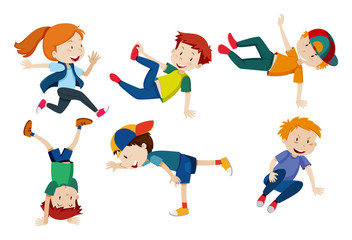 Kids doing different dance positions