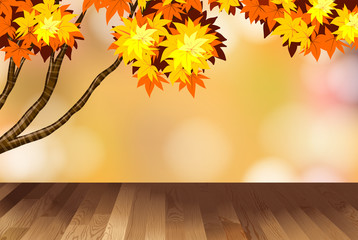Background design with yellow leaves on tree