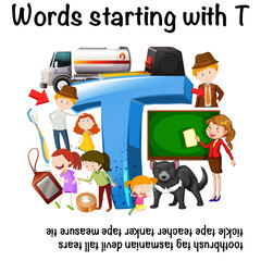 English worksheet for words starting with T