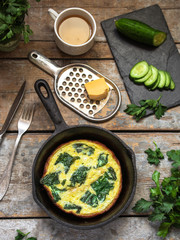 Egg omelet with spinach
