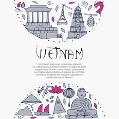 Culture of Vietnam. Asian architectures, symbols.