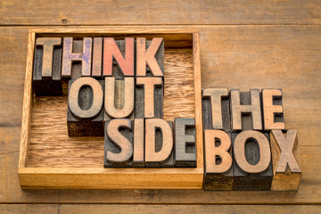 think outside the box concept in wood type