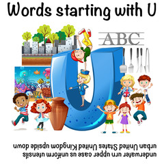 English worksheet for words starting with U