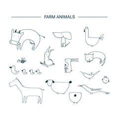 Farm animals clipart elements.