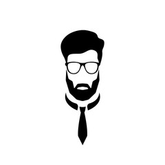 Portrait of an office worker with glasses and a tie. Vector illustration.