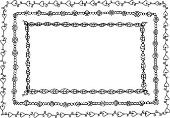 Doodle frame with hearts, leaves and circles. Isolated element f