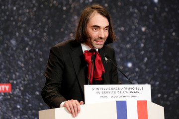 "French Mathematician and parliament member of ""La Republique en Marche"" political party Cedric Villani delivers a speech during the Artificial Intelligence for Humanity event in Paris"