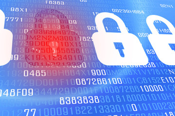 Broken lock screen on digital background