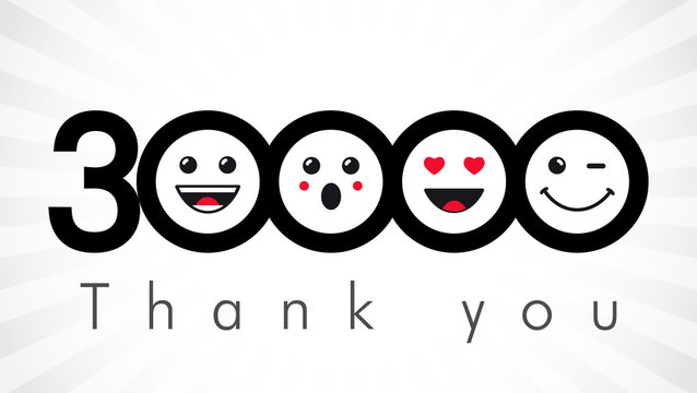 Thank you 30000 followers numbers. Congratulating black and white networking thanks, net friends image in two 2 colors, customers 30 000 likes, % percent off discount. Round isolated smiling people