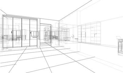 Interior sketch or blueprint