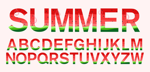 watermelon fonts in paper cut trendy style vector