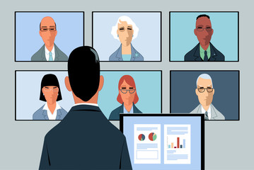 Businessman conducting a video-conference with a few remote partners, EPS 8 vector illustration