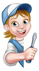 Builder Electrician Woman Cartoon Character