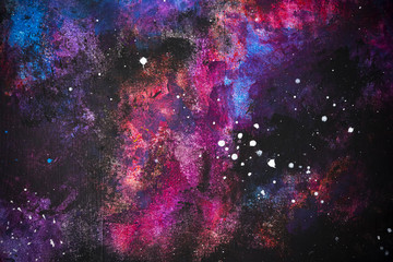 Abstract background from colorful painted on wall look like a galaxy or night sky with star.  Picture for add text message. Backdrop for design art work.