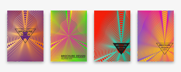Brochure design with halftone wave lines and neon gradients. Vector illustration.
