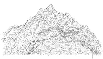 Wireframe polygonal landscape. 3d illustration