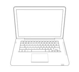 Laptop sketch. 3d illustration